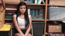 Asian brunette fucked for stealing