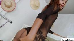 Skanky hot TS Nan goes intense solo masturbation scene