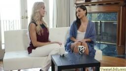 Damn blonde MILF Brandi enjoys lesbian sex with teen Zoe