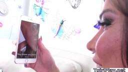 Cute Brunette TGirl Laela Knight handles ddues bigcock