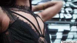 Brunette TS Khloe Kay loves the way bigcock fucks her ass