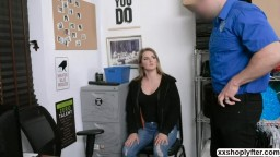 Shoplifter Aria Carson kneels and suck LP Guys big cock