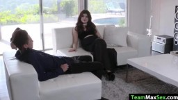 Teen Mel Joy gets fucked on the couch