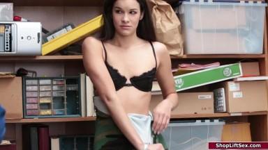 Store guard fucks small tits shoplifter