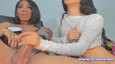 Shemale Deepthroating Her Ebony Friend